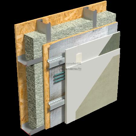 2.2.6-Detaliu perete – placare cu gips-carton pe profile palarie – spatiu de instalatii