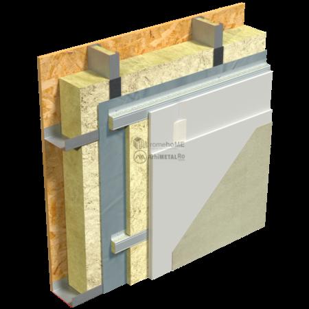 2.2.7-Detaliu perete – placare cu gips-carton pe profile palarie-vata minerala la interior