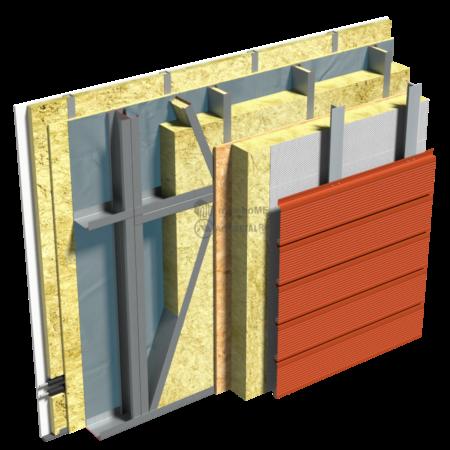 2.3.3 – Detaliu de fatada ventilata – placaj cu lamele de fatada