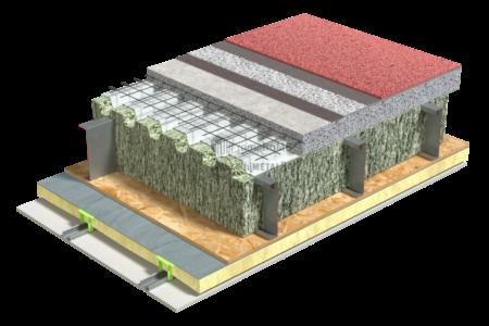 4.3.1-Detaliu de planseu – tabla cutata si beton – izolatie fibre celulozice – membrana acustica pe beton – mocheta
