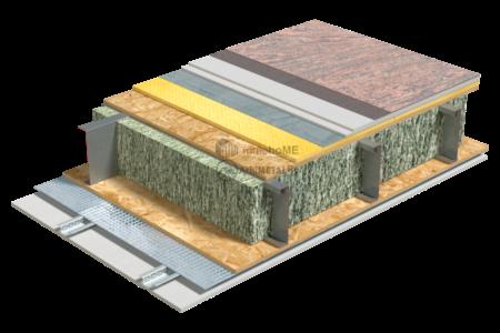 4.3.2 – Detaliu de planseu – OSB – izolatie fibre celulozice – sapa uscata flotanta – covor PvC
