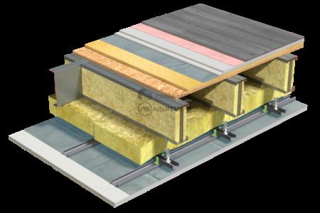 4.4.2 – Detaliu planseu – structura dublata – OSB – sapa uscata flotanta – plafon suspendat pe longrine