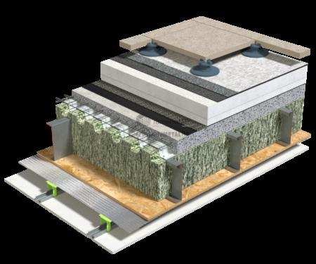 5.1.1 – Detaliu de terasa – tabla cutata si beton – termoizolatie EPS – circulabila – piatra artificiala pe ploti