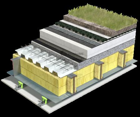 5.2.1 – Detaliu de terasa – tabla cutata si beton – termoizolatie EPS – covor drenaj -inierbata extensiv