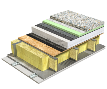 5.2.2 – Detaliu terasa – OSB – termoizolatie EPS – protectie termoizolatie XPS – necirculabila – pietris