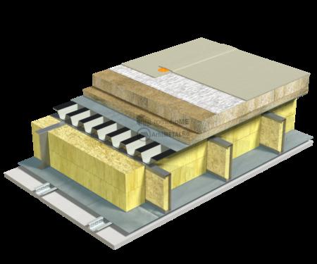 5.2.3 – Detaliu de terasa – tabla cutata – vata bazaltica – membrana PvC