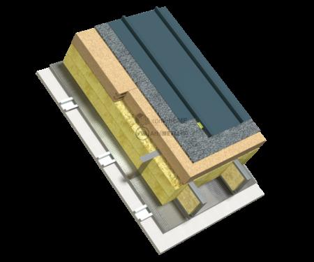 6.6.2 – Detaliu de acoperis cu panta – neventilat – protectie termica Steico la exterior – tabla dublufaltuita