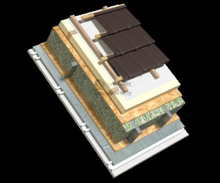 6.6.3 – Detaliu acoperis cu panta – ventilat-prot termica PIR la exterior – tabla tigla