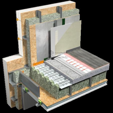 8.7.1 – Planseu – detaliu de racord cu peretii de fatada – placa beton usor – vedere din interior